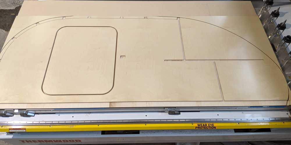 CNC routed sidewall for Aero Teardrop Trailers by Stumptown CNC